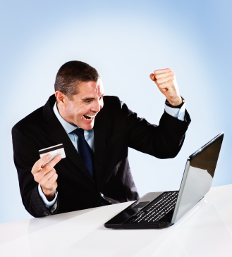 Excited Business Man Gets Great Price About Website Design For His Business